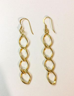 Sterling silver dangling earrings plated with 24k gold for Sale in Baldwin Park, CA