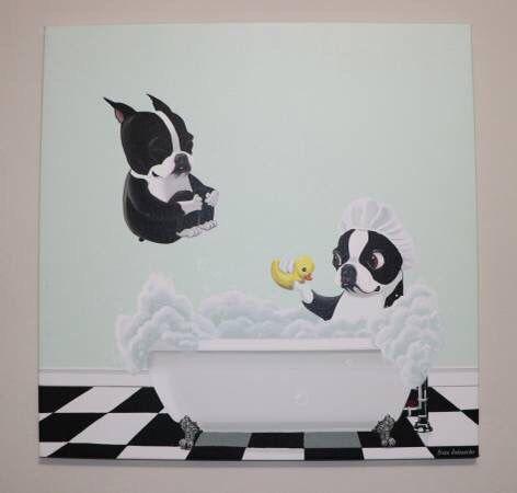 NEW French Bulldog Art Canvas Painting Bath Time by Brian Rubenacker