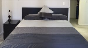 Bed frame mattress bed table night lamp pillows for Sale in Chicago, IL