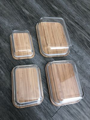 Glass food storage containers with bamboo lids for Sale in Tampa, FL