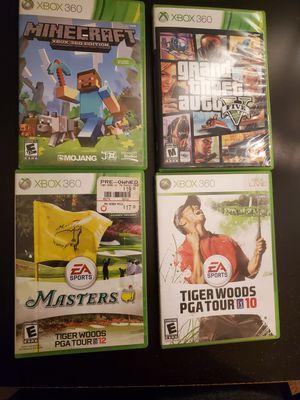 Bundle xbox 360 games (Minecraft, GTAV, Tiger woods PGA tour 10 & 12) for Sale in Moreno Valley, CA