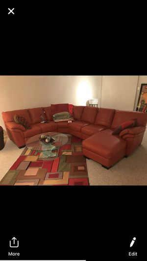 Excellent condition Leather Couch, Pottery Barn Dinning Room Table(Brown), Pottery Barn (White) Kitchen Table, 2 Vase for Sale in Glenn Dale, MD