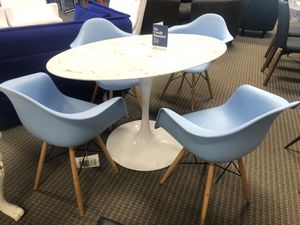 5pc Blue eames style dining chairs and oval marble dining table for Sale in Lincolnia, VA