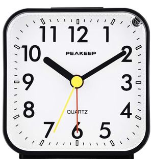 Small Battery Operated Analog Travel Alarm Clock Silent No Ticking, Lighted on Demand and Snooze, Beep Sounds, Gentle Wake, Ascending Alarm, Easy Set for Sale in New York, NY