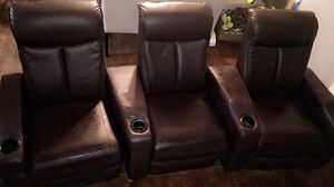 Brown Reclining Leather Media Chairs for Sale in Duncan, OK