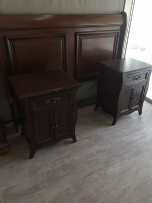 Queen size bed frame and two night stands for Sale in Tampa, FL