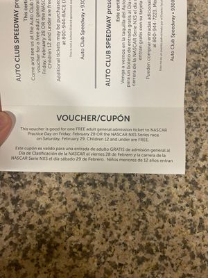 Voucher for Friday or Saturday nascar nsx for Sale in Rialto, CA
