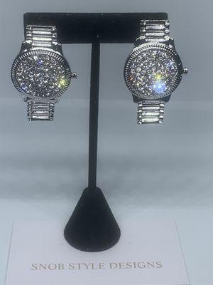 Silver watch earrings for Sale in Boynton Beach, FL