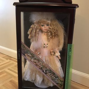 Vintage Collectible Doll In Dark Cherry Wood Display Case for Sale in Sterling Heights, MI