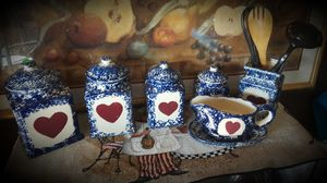 County Kitchen Blue Speckled Canisters, Gravy Bowl n Utensil Holder for Sale in Frederick, MD