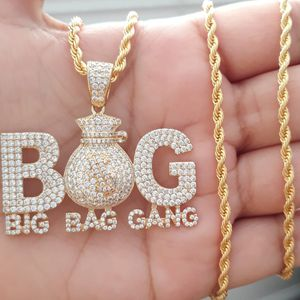 14k gold finish Icedout BIG BAG GANG pendant with Shiny Rope necklace for Sale in Los Angeles, CA