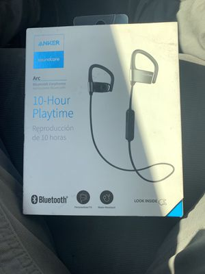 Anker SoundBuds Arc Ear-Hook Wireless Headphones with 10-Hour Bluetooth Playtime and Adjustable Memory Metal Black+gray for Sale in Oxon Hill, MD