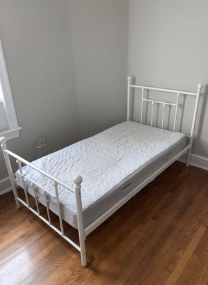 White twin size bed frame, mattress included! for Sale in Arlington, VA