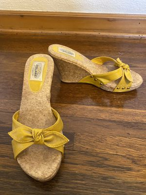 Yellow comfortable wedges shoes heels pumps for Sale in Glendale, CA
