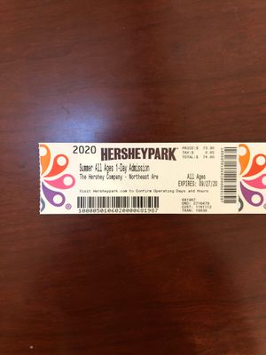 4 Hershey Park Admission Tickets for Sale in North Potomac, MD