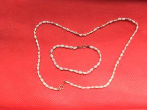 14k Gold Necklace & Bracelet Set (Freshwater Pearls) for Sale in Wichita, KS