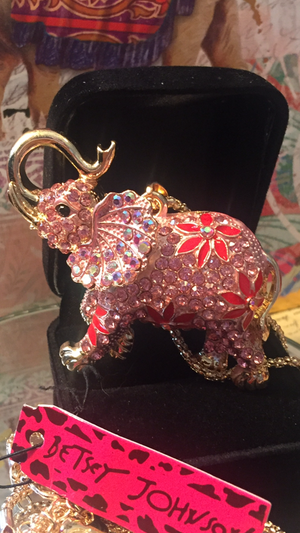 Betsey Johnson rhinestone Pink INDIA style 3 D Elephant necklace on a gold chain for Sale in Northfield, OH