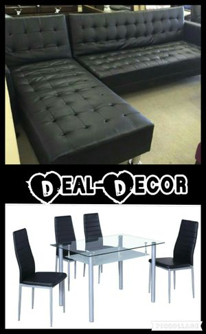 Black or white leather sectional & combo 5pc dining set for Sale in Marietta, GA