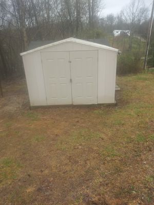 10×8 White Plastic shed with included Prefab wooden deck for Sale in Greeneville, TN