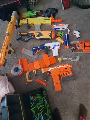 Nerf guns extra clips and some bullets for Sale in Des Moines, IA