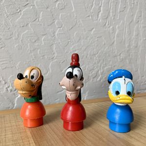 Vintage Fisher-Price Little People Type Disney Character Figures, Goofy, Donald & Pluto for Sale in Elizabethtown, PA