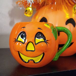 Vintage Ceramic Jack o Lantern Pumpkin Mug Halloween Decorations for Sale in Tujunga, CA
