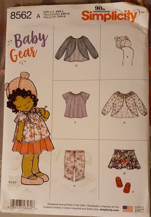 Simplicity 8562 Baby Clothes Sewing Pattern for Sale in Downey, CA