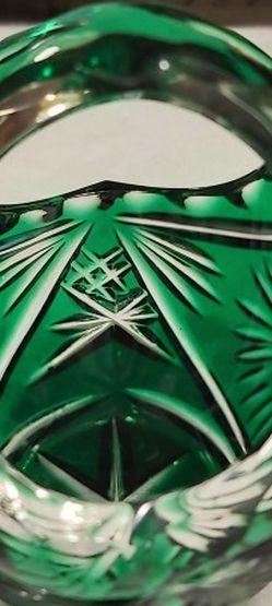 Vintage Bohemian Emerald Green Cut To Clear Little Crystal Basket for Sale in Everett,  WA
