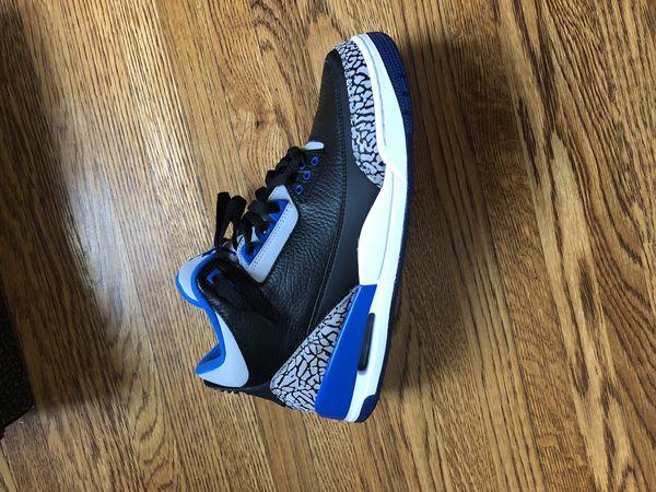 Sport blue Jordan retro 3's size 9.5 DS