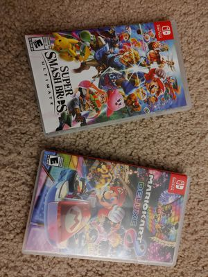 Mario Kart 8 Deluxe & Super Smash Bros Ultimate for Nintendo Switch for Sale in Vienna, VA