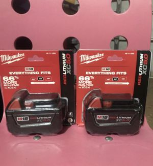 Milwaukee XC5.0 batteries 2 for $130 for Sale in Miami, FL