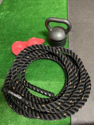 Amazon basics battle rope, adjustable kettlebell, 2 pink 5 lb kettle bell for Sale in Lake Worth, FL