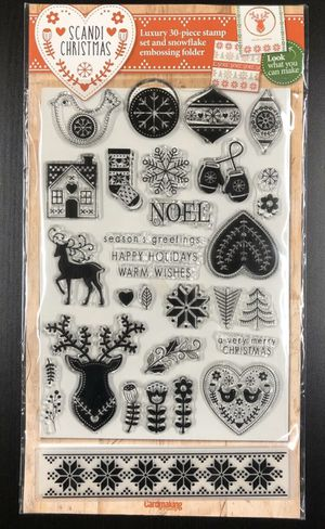 Scandi Christmas 30 Piece Clear Cling Stamp Set And Snowflake Embossing Folder for Sale in Rives Junction, MI