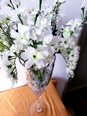 Custom made Flower Arrangement in Tall Glass Vase with clear marbles for Sale in Silver Lake, OH