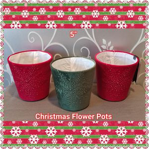 3 NEW VELVET CHRISTMAS FLOWER POTS for Sale in Ontario, CA