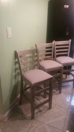 3 bar stools, paint weather grey for Sale in Chicago, IL