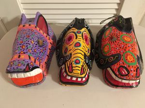 Choose From Three Large Mexican Hand Carved and Painted Folk Art Mask Wall Hangings - Each Sold Separately for Sale in Sun City, AZ