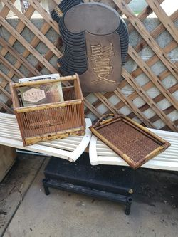 Rattan Bamboo Tray And Carry All Magazine Rack for Sale in Hollywood, CA