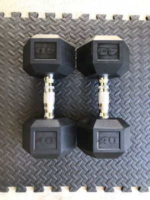 DUMBBELLS WEIGHTS RUBBER GYM CURL 40LBS BENCH DUMBELLS 40 POUNDS NEW!! for Sale in Lakewood, CA