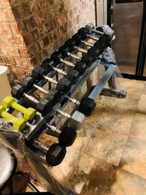 LikeNew Dumbbells 5-8-10-12-15-20-25-35 with Brandnew 2 tiers (2x 49inch) Heavy Duty Rack. all=$300. for Sale in Fort Worth, TX