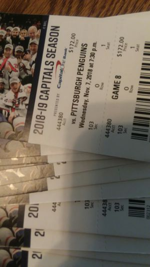 Capitals Season Tickets November 7th to March 20th two tickets per game seats 1 and 2 sec103 for Sale in Alexandria, VA