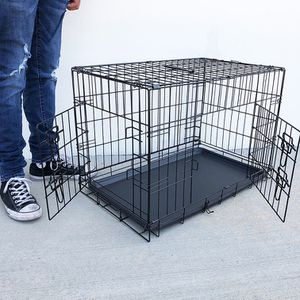 "(NEW) $35 Folding 30"" Dog Cage 2-Door Folding Pet Crate Kennel w/ Tray 30""x18""x20"" for Sale in El Monte, CA"