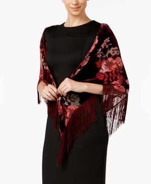 Inc International Concepts Velvet Floral Triangle Scarf (Merlot, One Size) for Sale in Norfolk, VA