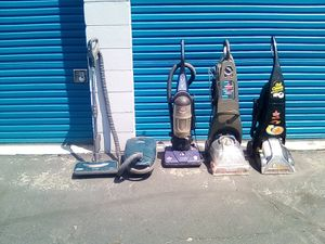 Two Bissell pro heat carpet cleaners and one Bissell power force and one Kenmore vacume for Sale in Colton, CA