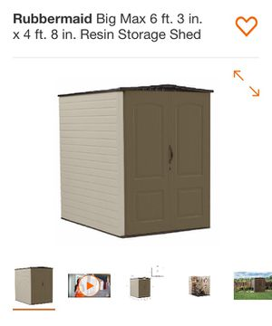 Rubbermaid' big max 6ft 3in x 4 ft 8in resin storage shed for Sale in Stoneham, MA