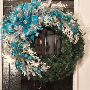 Turquoise /Teal and Silver Christmas Wreath for Sale in Covington, GA