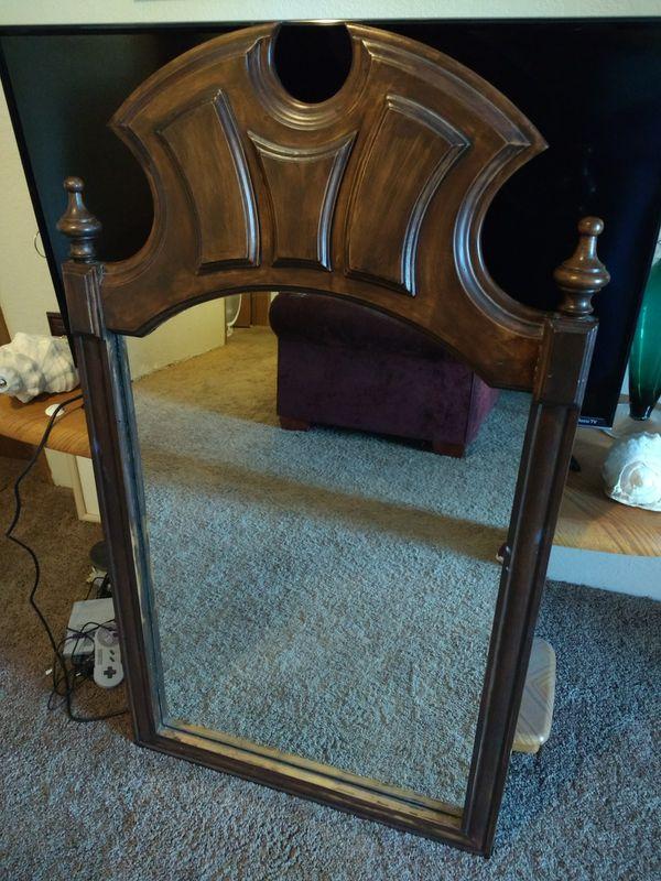 Dresser mirror added wire wall hanger