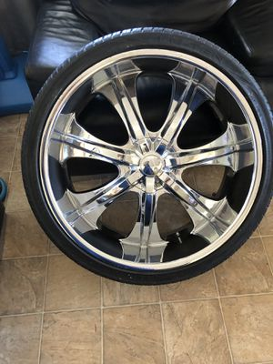 """Rims & tires size 305/30/26"""" universal 6 lugs $800 obo for Sale in Jurupa Valley, CA"""