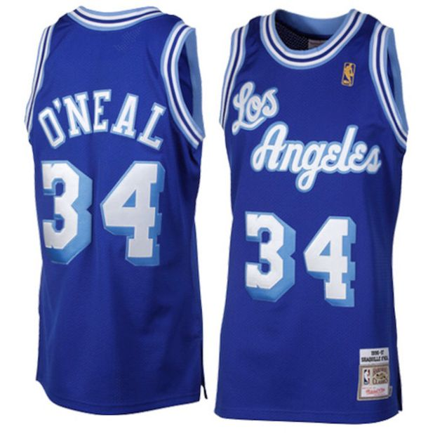 Shaquille O'Neal Los Angeles Lakers 1996-1997 Hardwood Classics Throwback Authentic Jersey - Royal Blue