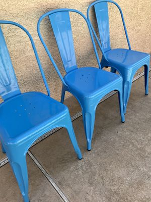 New 3 Pack Light Blue Metal Chairs for Sale in Henderson, NV